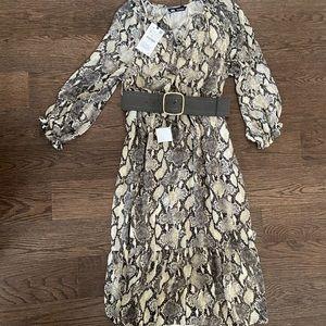 NWT Zara Belted Snake Midi Dress